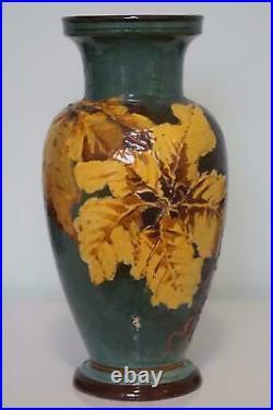 Rare Doulton Lambeth Impasto Ware Vase Autumn Leaves In Light Relief c1885