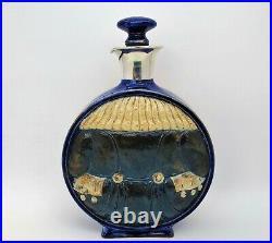 Rare Doulton Lambeth Simeon Toby Moon Whisky, Liquor Flask with Silver Rim