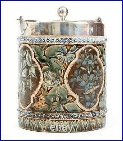 Rare Doulton Lambeth Stoneware BISCUIT BARREL / hallmk c. 1880 Lupton / Excellent