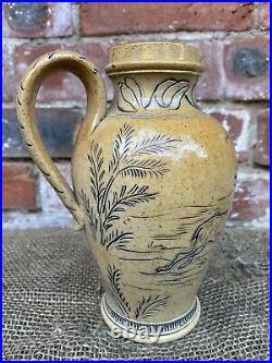Rare Early Doulton lambeth Stoneware Pitcher By Hannah Barlow Circa 1869-1872