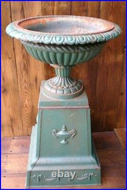 Reclaimed Cast Iron Urn on Plinth Warwick Reclamation