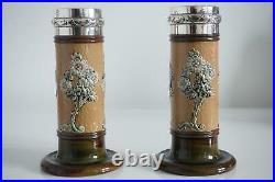Royal Doulton Lambeth Art Nouveau Vases Silver Rims Ethel Beard c. 1903