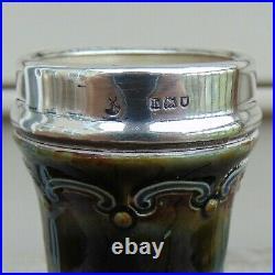 Royal Doulton Lambeth Glazed Stoneware Sterling Silver Mounted Vase H. 6.5
