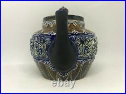 Royal Doulton Lambeth Harriman Judd Collection Stoneware Cobalt Blue Teapot