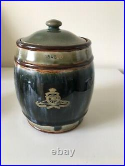 Royal Doulton Lambeth Presentation Tobacco Jar Royal Artillery Regimental Badge