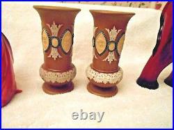 Royal Doulton Lambeth Silicon Ware Stoneware VasesPair Victorian Faces 6 T
