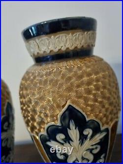 Royal Doulton Lambeth Slater Vases blue and gold lace No. 1690 Circa 1900's