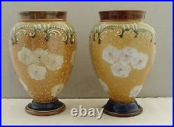 Royal Doulton Lambeth Slaters Patent Art Union Of London Pair Vases Art Nouveau