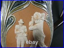 Royal Doulton Lambeth Stoneware Baluster Jug Golf Scenes c. 1891-1900