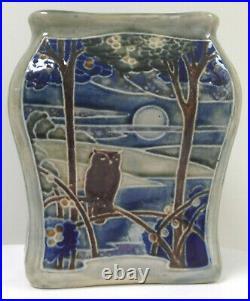 Royal Doulton Lambeth Stoneware Vase Owl Moon Wood Lake Sun Birds 1912-1920 EB