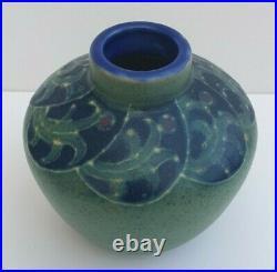Royal Doulton Lambeth Vase Harry Simeon Green Body Mauve Speckled