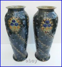 Royal Doulton Lambeth Vases Maud Bowden Art Nouveau Design Very Nice