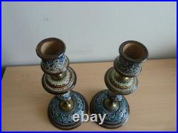 Stunning Pair Of Doulton Lambeth Stoneware Candle Sticks Must See