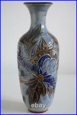 Superb Doulton Lambeth Vase Carved Foliate Design Harry Barnard c. 1880