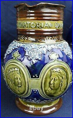 Three Queen Victoria Jugs Doulton Lambeth Stoneware Royal Commemorative 1897