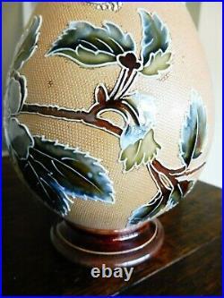 Unusual Art Union Of London Rare Doulton Lambeth Art Nouveau Vase 11ins