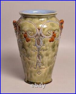 Very Good Large Antique Mark V. Marshall Royal Doulton Grotesque Stoneware Vase