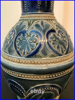 Victorian Doulton-Lambeth Vase by E. A. Sayers, with marks to base and dated 1877